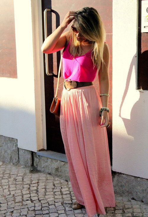 bright pink top, pale pink maxi skirt, brown belt. Get Spring ...