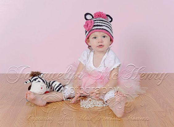 Little Miss Zebra Beanie in White Black and by mamamegsyarnshoppe, $22.00