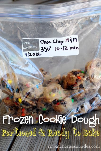 How to freeze cookie dough.  I'm talking freeze it in individual cookie-sized portions so you can grab a couple from the freezer and get a quick snack for the kids after school.  Love the idea!