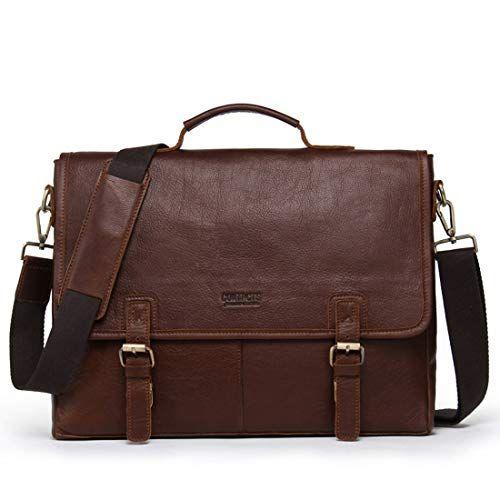 Color : Black KRPENRIO Mens Messenger Shoulder Bag Vintage Leather Briefcase Crossbody Day Bag for School and Work