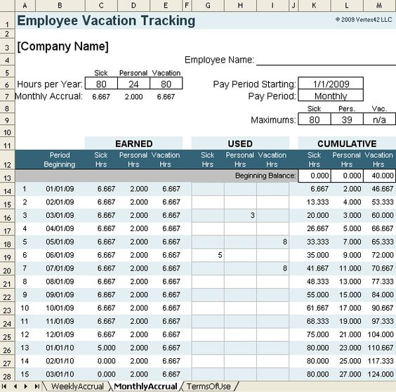 Printable Payroll Ledger Vacation Accrual Spreadsheet Template - payroll sheet template