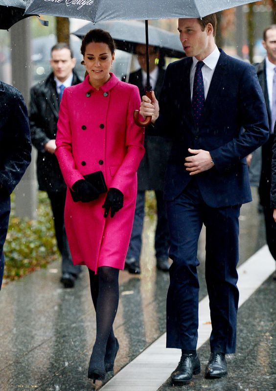 To visit the city's solemn September 11 Memorial, the Duchess chose to wear a Seraphine maternity dress under her bright pink Mulberry coat, accented with chic black accessories.