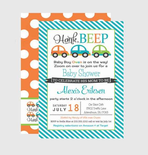 Car Baby Shower Invitations Colorful Baby Boys by PaperCleverParty