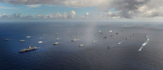 Rare to see +40 warships sailing together.1st,some navies have little more (if not less) than 40 serviceable ships.2nd,though it would not be that easy to come too close to formation (considered flagship US nuclear-powered aircraft carrier),*could be* huge target for air,naval & underwater assets involved in maritime attack/anti-ship missions.Taken during RIMPAC 2014,24th in series of world's largest international maritime warfare exercise taking place in Pacific Jun.26-Aug. 1.