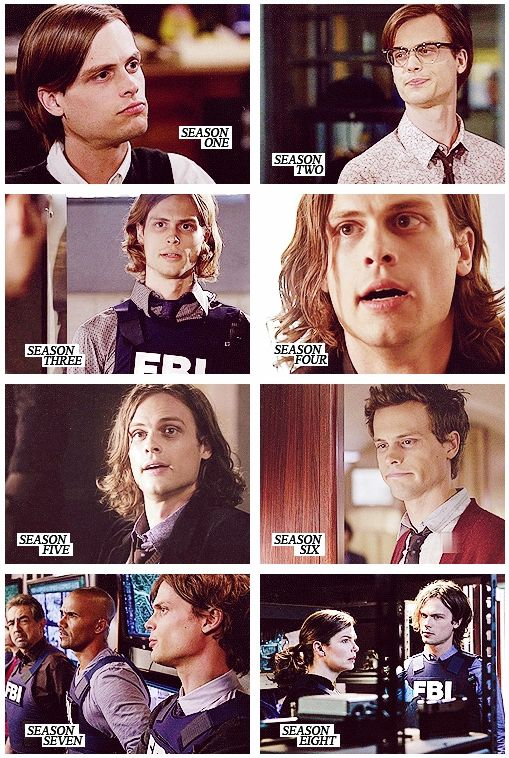 Spencer Reid (Matthew Gray Gubler) throughout the seasons of Criminal Minds.