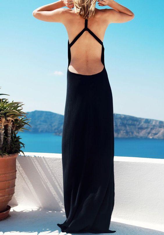 Black Side Slit Maxi Dress: