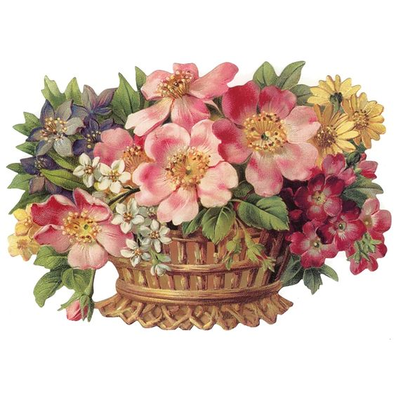 Large Flower Basket Scrap ~ Germany ~ New for 2012: