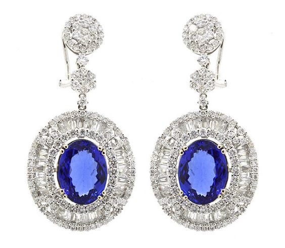 Earrings (300) Round and Baguette Diamonds 5.66ct.tw (2) Tanzanite 12.01ct.tw…