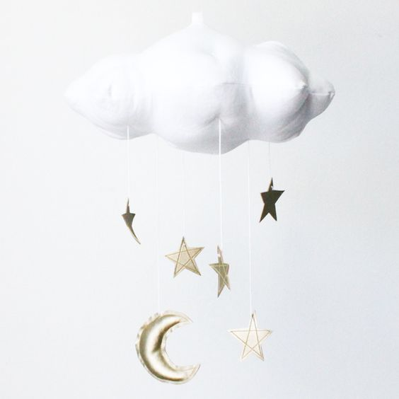 White Cloud, Moon & Stars Mobile in Gold - The perfect touch for a modern nursery, this mobile is sewn with white linen and your choice of stars and moon in faux metallic leather! #PNshop
