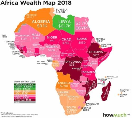 Africa Wealth Per Adult 2018 Africa Map Africa Map