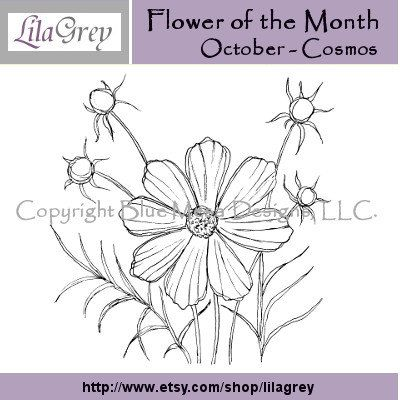 Flower of the Month - October - Cosmos - Digital Stamp. $3.00, via Etsy.