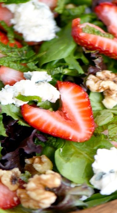 Strawberry Salad with Gorgonzola, Walnuts, and Mint