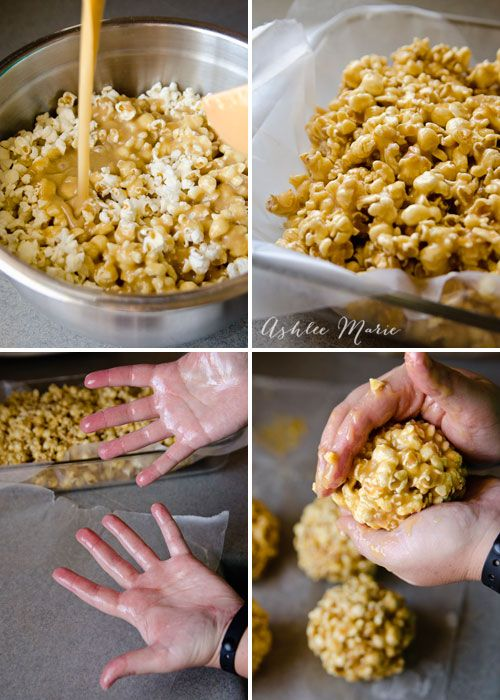 making soft gooey caramel popcorn balls are easy and a delicious treat and gift for the holidays