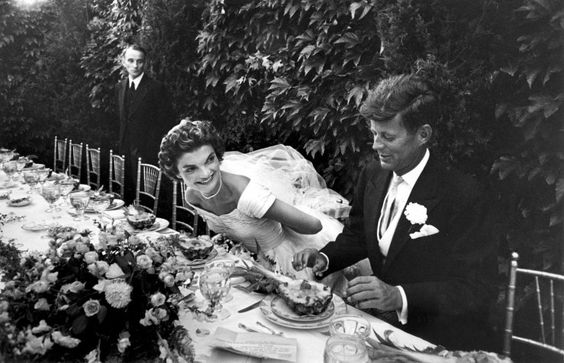 Future First Lady Jacqueline Bouvier Kennedy and Sen. John Kennedy at their wedding reception, 1953.