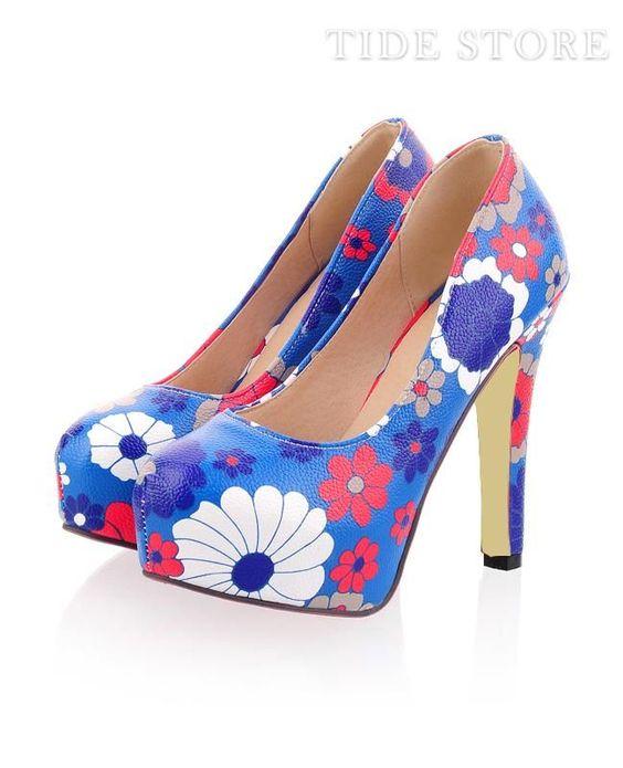 Celebrity Blue PU Closed-toe Flower Print Stiletto Heel Pumps