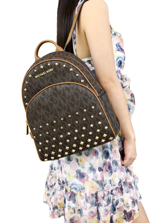 $ 139.00 | Michael Kors Abbey Medium Backpack Brown MK Signature Stud Acorn ❤  #michael #medium #backpack #signature #diy #GoingOut #High #pendant #aintreeoutfit #designer #Oficina #Casual #Retro #fashionblogger #Shorts #Everyday #Vestidos #Dressy #Mezclilla #work