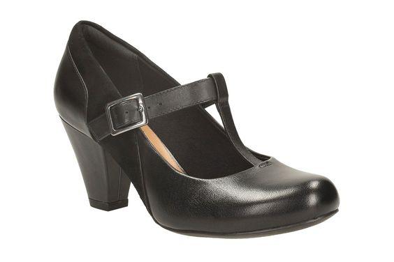 Clarks Damen Modern-Elegant Clarks Coolest Lass Leder Halbschuhe In Schwarz…