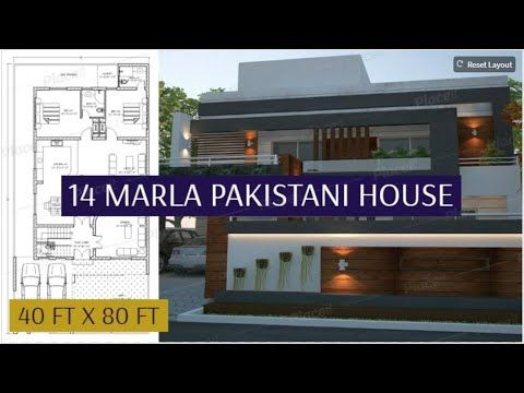 14 Marla House Plan With 3d Front Elevation 40 X 80 House Plan With Front Elevation Youtube Model House Plan House Plans 3d House Plans