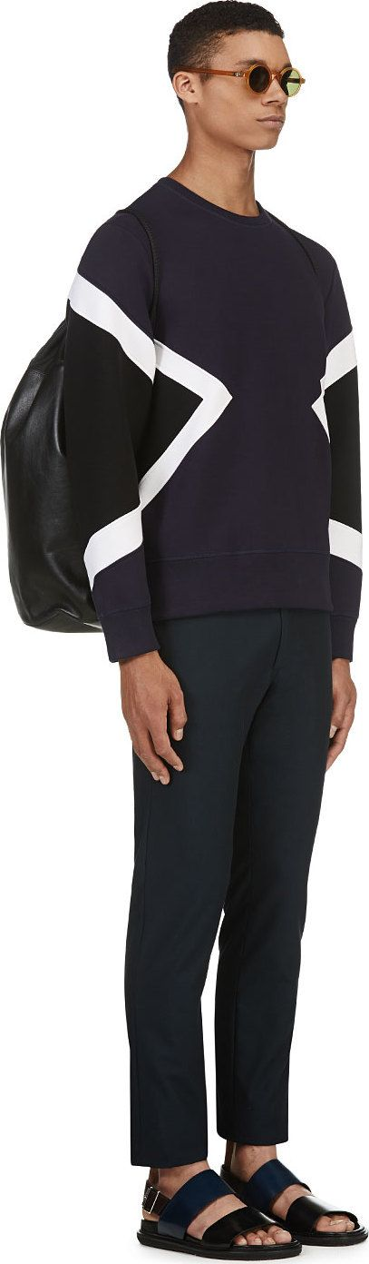 Neil Barrett - NAVY GEOMETRIC NEOPRENE SWEATER
