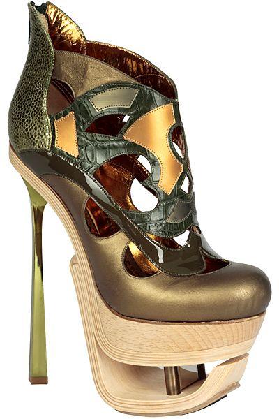 #JohnGalliano - #handcraft leather platform #anklebootie