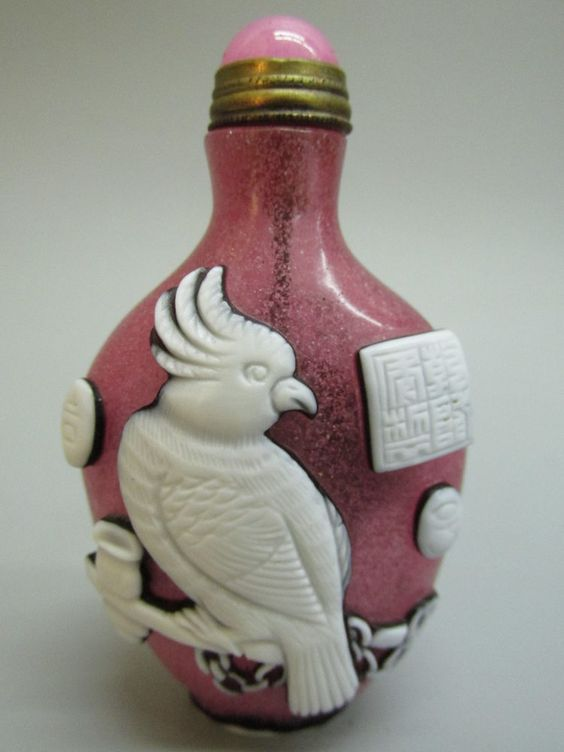 Chinese Peking Glass Carved Bird & Duck Pattern Snuff Bottle