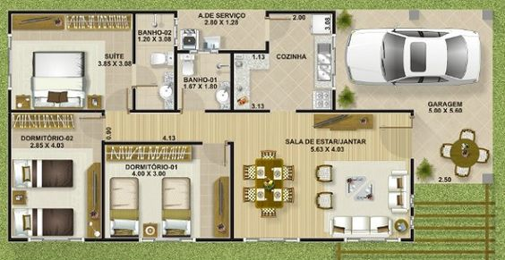 Plano de casa de una planta y tres - Planos de casas de una planta ...