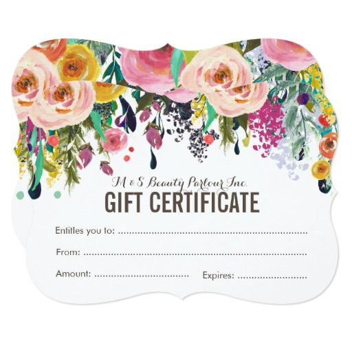 Painted Floral Salon Gift Certificate Template Gift certificate - fillable gift certificate template
