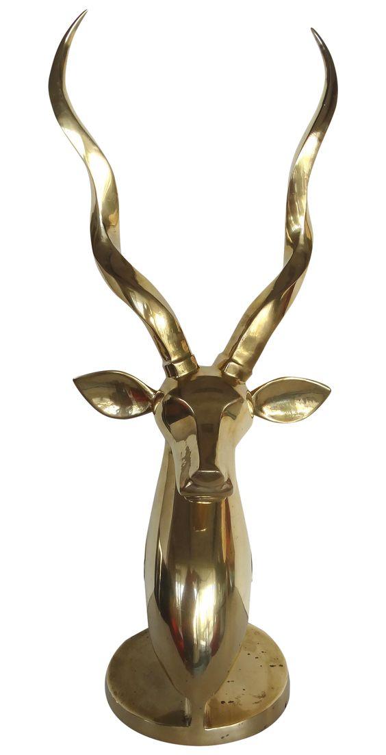 Large Brass Sculpture of a Gazelle on Chairish.com
