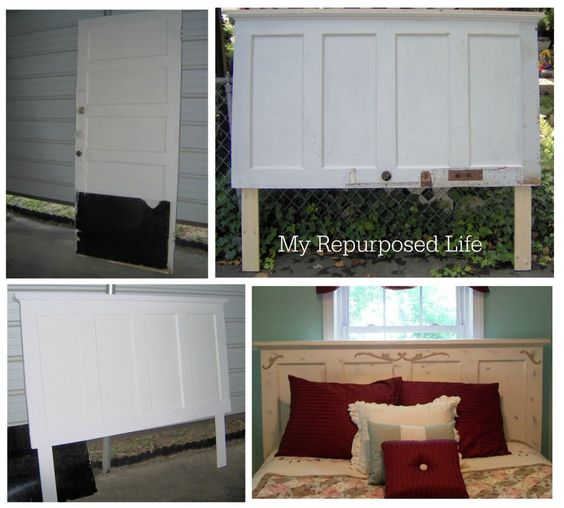 Headboards doors and old doors on pinterest for How to make a headboard out of a door