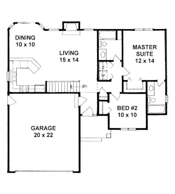 Ranch Style House Plan - 2 Beds 2 Baths 995 Sq/Ft Plan #58-202 Floor Plan - Main Floor Plan - Houseplans.com