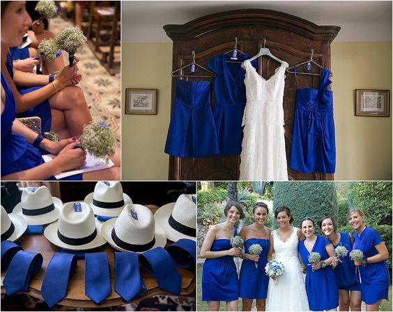Marine et Emmanuel, mariage en bleu au Cap brun, petits bouquets pour les demoiselles d'honneur