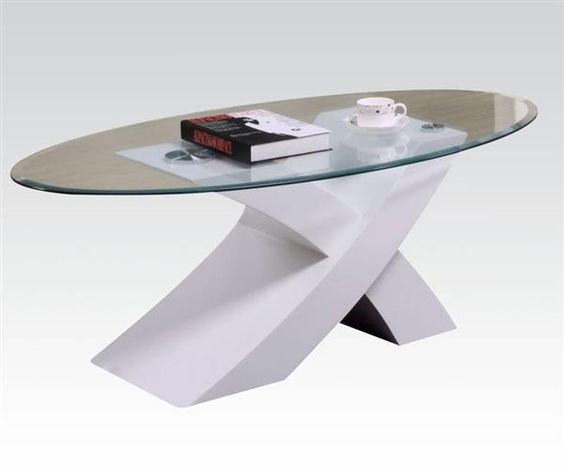 Pervis White Wood Oval Glass Coffee Table