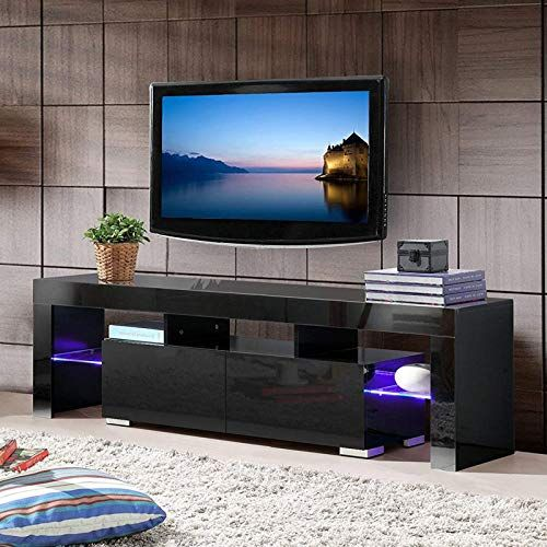 Mecor Black Tv Stand With Lights Modern Led Tv Stand With Storage