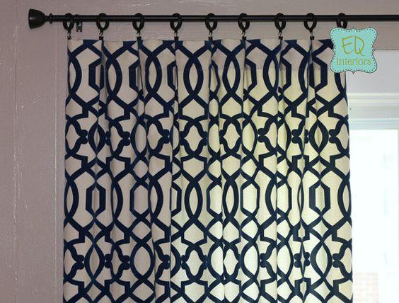 96L x 50W Flocked Curtains Trellis Custom Curtain Panels Home Accents Jotto  Navy Blue Trellis Lattice