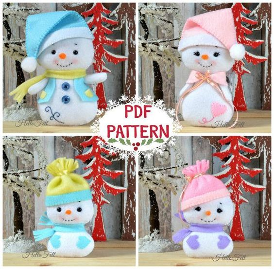 Snowman and Family PDF Pattern Felt Pattern Plush by HelloFelt - $6.50 for instant download of this pattern