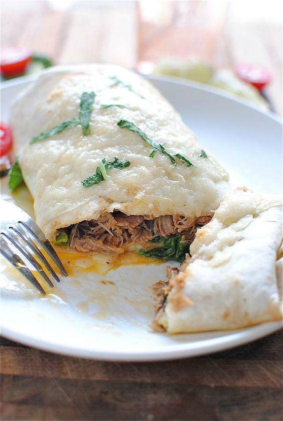 Slow Cooker Pork Burritos / Bev Cooks
