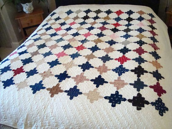 Antique Hand Stitched Irish Patchwork Quilt With Embroidered Maker's Name, eBay, colls.fy