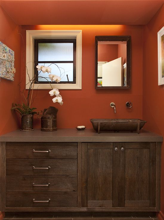 Orange bathrooms eclectic bathroom and cabinets on pinterest for Rustic paint colors from sherwin williams