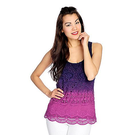 722-720 - OSO Casuals® Dip-Dyed Knit Sleeveless Crochet Lace Front Scoop Neck Tank: