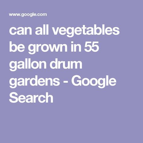 can all vegetables be grown in 55 gallon drum gardens - Google Search