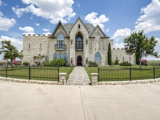 FAIRY TALE HOMES FOR SALE ֆ/ֆ Muenster, Texas, For sale $795,000  Your own private palace is royally appointed with hardwoods, see- through fireplace, coffered ceilings, wet bar, wine closet, chandeliers and more. Home sits atop 5 acres of pristine-in a hidden area-Texas land and boasts a guest house, sprawling pool and outdoor living area as well as 6500 sqft living space. 5 beds 5 baths, Built 2000, Central Cooling, Attached, Garage - Detached, 4 spaces