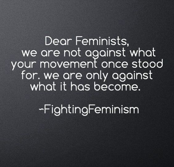 Again, thankful to the suffragettes, annoyed by whatever feminism is pretending to be now. FINALLY SOMEONE SAID IT.