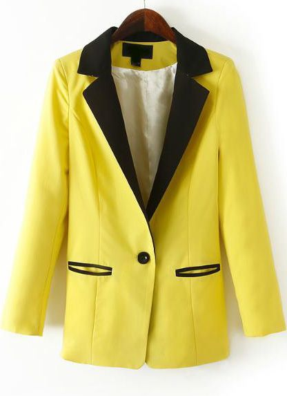 Yellow Contrast Notch Lapel Pockets Fitted Blazer