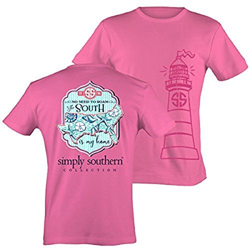 Simply Southern Tees Short Sleeve Preppy South is My Home Bubblegum X-Large. 100% Cotton. Screen printed grahics. Short Sleeve T-Shirt. Made By Simply Southern Tees.
