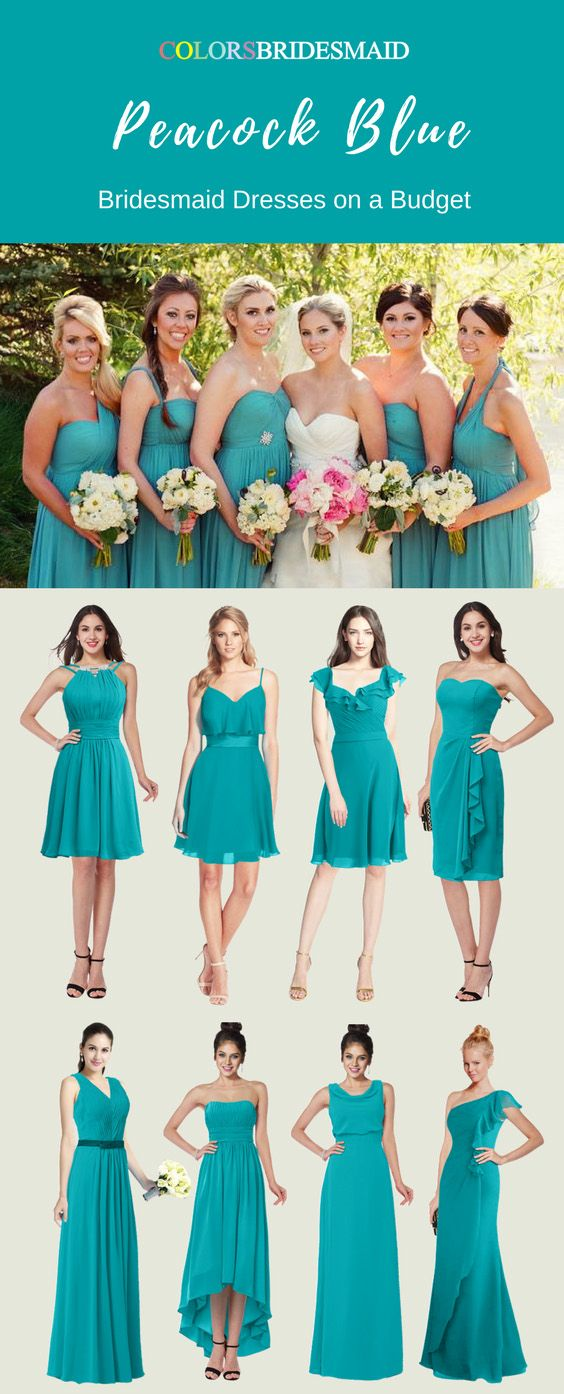 Fascinating Peacock Blue Bridesmaid Dresses In Fashionable Styles