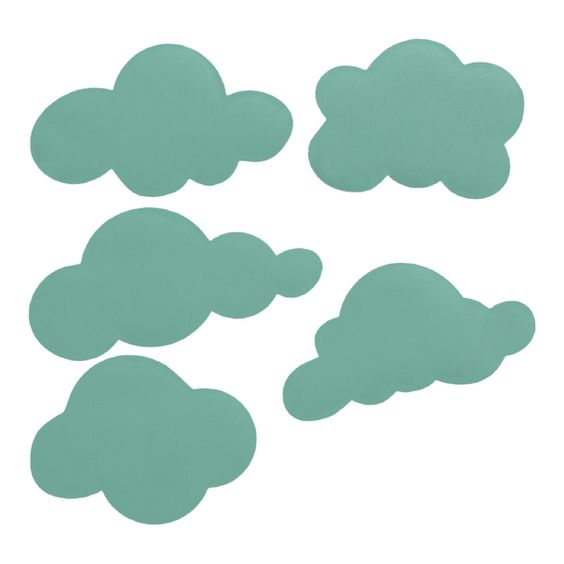 in mintgroen mint wolk wolkje stickers decoratie kinderkamer babykamer ...