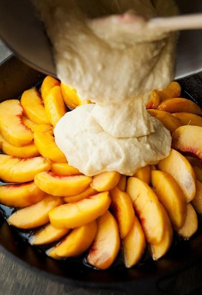 Peach Upside Down Cake Recipe ~ Oh My! This is dessert is the oven, can't wait!