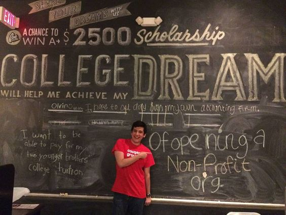 College will help Adrian achieve his dream of opening a non-profit organization. Like his photo on #JerryBuilt's Facebook page to help him win a $2,500 scholarship: http://bit.ly/JBdreamwall