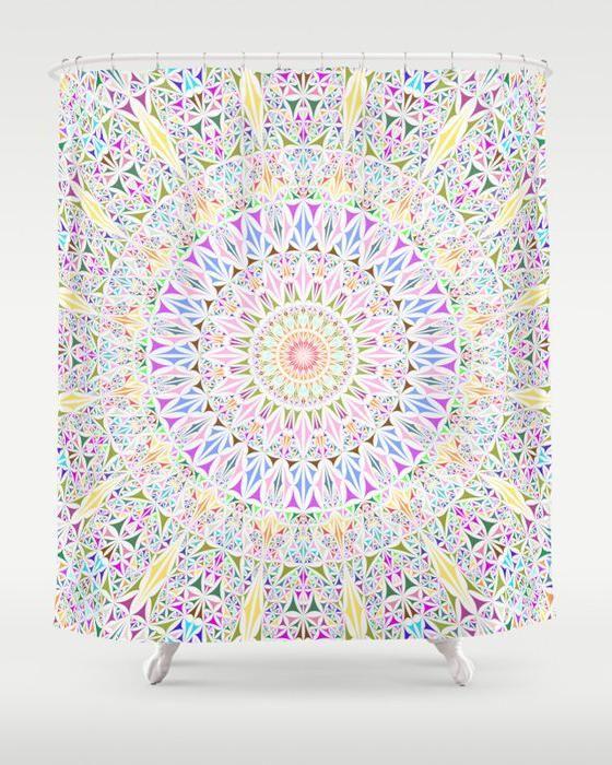 Colorful Tribal Triangle Mandala Shower Curtain By David Zydd