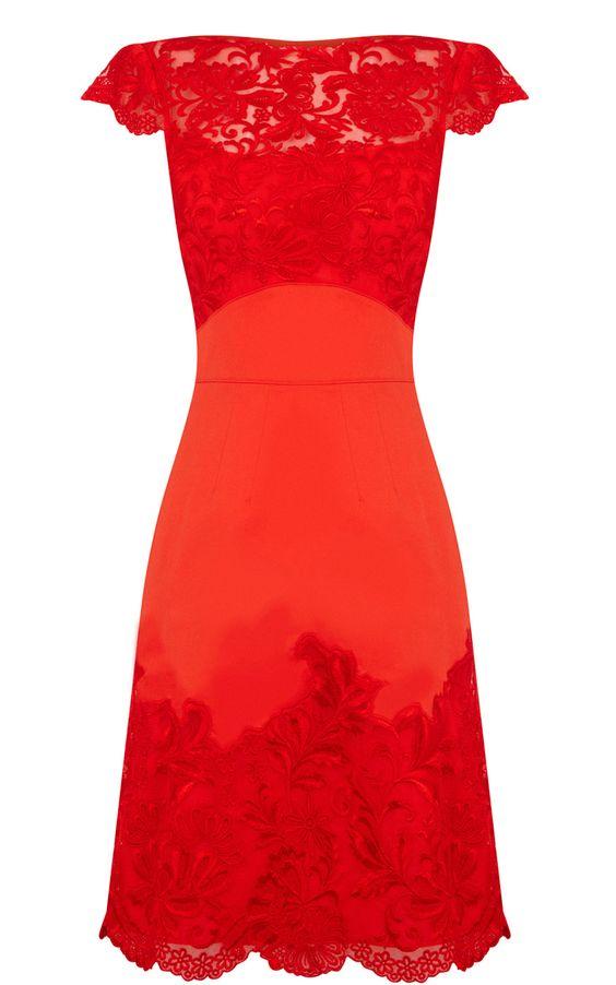Karen Millen Coloured lace dress red Karen Millen DP052 uk online ...